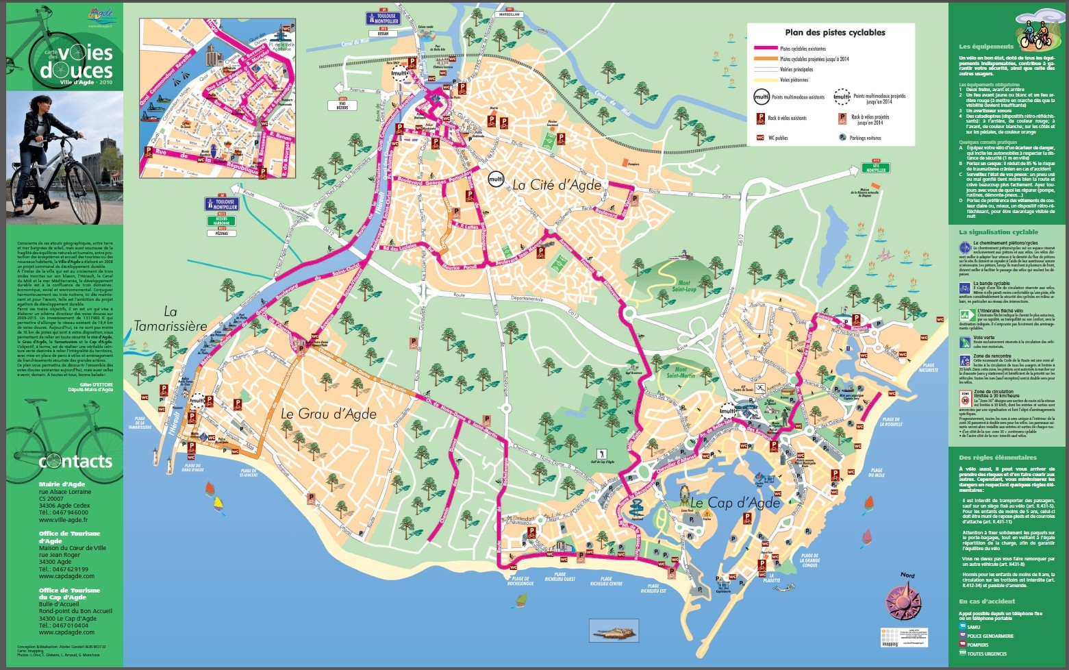 plan carte le cap d agde voies douces piste cyclable